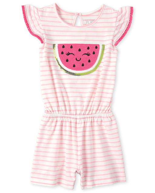 Baby And Toddler Girls Short Flutter Sleeve Sequin Watermelon Graphic Striped Knit Romper