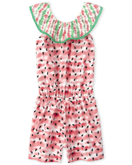 Baby And Toddler Girls Short Ruffle Sleeve Watermelon Print Knit Ruffle Romper