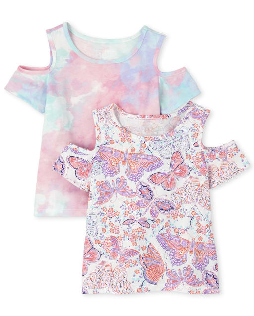 Toddler Girls Short Sleeve Print Cold Shoulder Top 2-Pack
