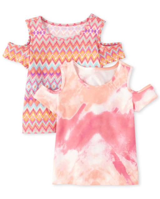 Toddler Girls Short Sleeve Print Cold Shoulder Top 2-Pack