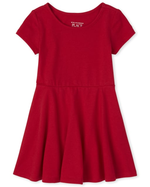 Toddler Girls Uniform Short Sleeve Knit Skater Dress