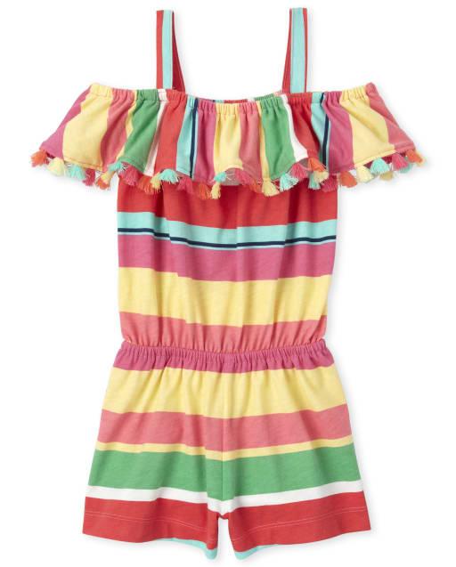 Crazy 8 Baby Girls Toddler WVN Tiled Tassle Tie Romper