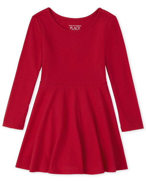 Toddler Girls Uniform Long Sleeve Knit Skater Dress