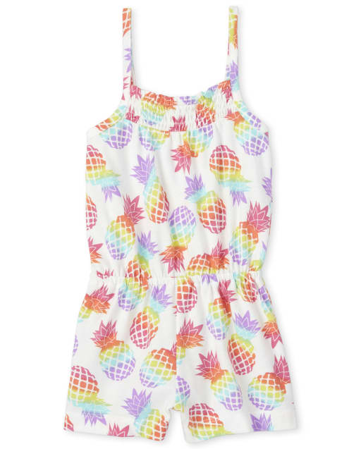 Baby And Toddler Girls Sleeveless Rainbow Pineapple Print Knit Romper