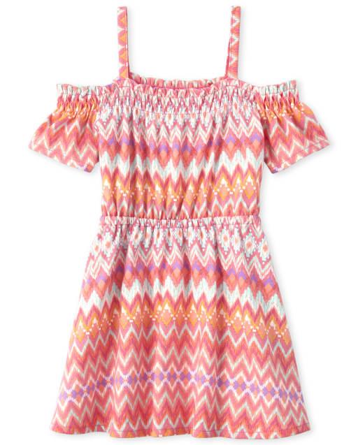 Baby And Toddler Girls Short Sleeve Chevron Print Smocked Knit Off Shoulder Dress
