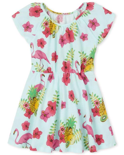 Baby And Toddler Girls Short Flutter Sleeve Flamingo Print Knit Dress