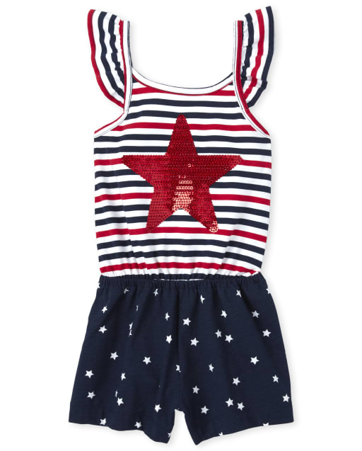 Baby And Toddler Girls Americana Short Flutter Sleeve Striped And Sequin Star Graphic Knit Romper