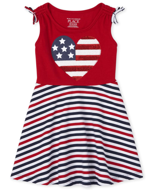 Baby And Toddler Girls Americana Sleeveless Flag Heart And Striped Matching Knit Tank Dress