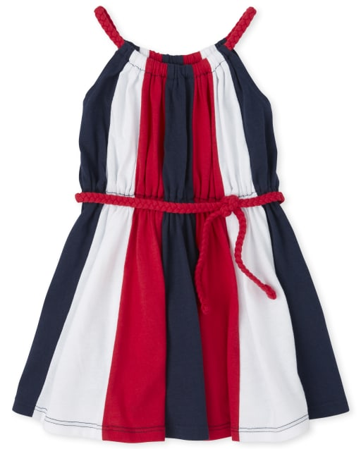 Baby And Toddler Girls Americana Sleeveless Striped Belted Matching Knit Dress
