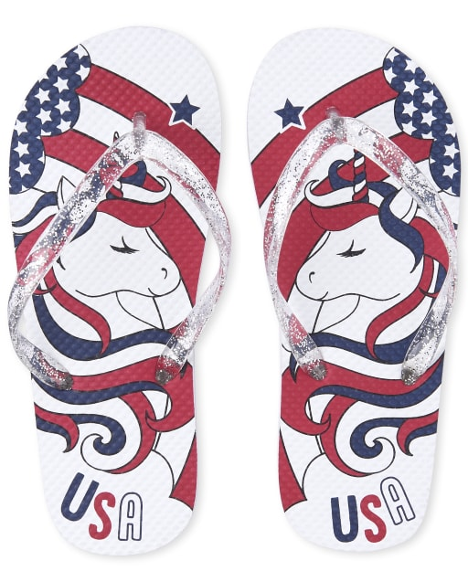Girls Americana Glitter 'USA' Unicorn Graphic Matching Flip Flops