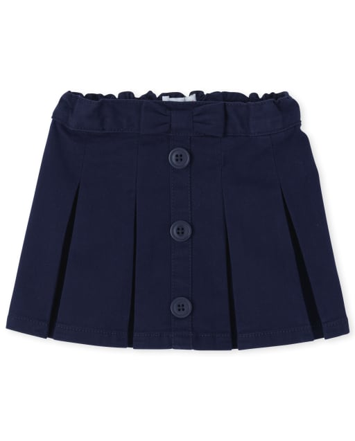 Toddler Girls Uniform Woven Button Skort