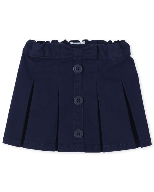 Toddler Girls Uniform Woven Stretch Button Skort