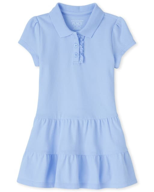 Toddler Girls Uniform Short Sleeve Tiered Pique Polo Dress