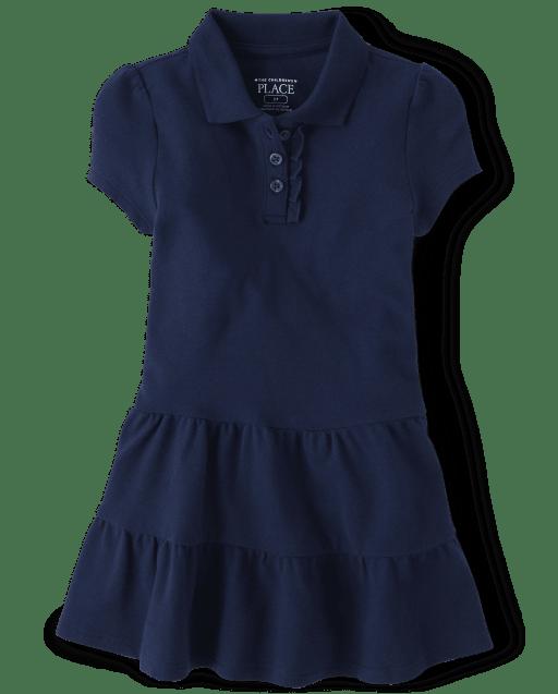 Vestido polo de piqué escalonado de manga corta con uniforme para niñas pequeñas