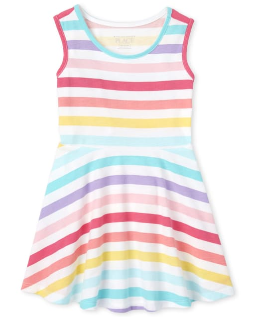 Baby And Toddler Girls Sleeveless Rainbow Striped Knit Tank Dress