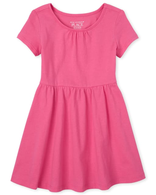 Baby And Toddler Girls Short Sleeve Shirred Knit Dress