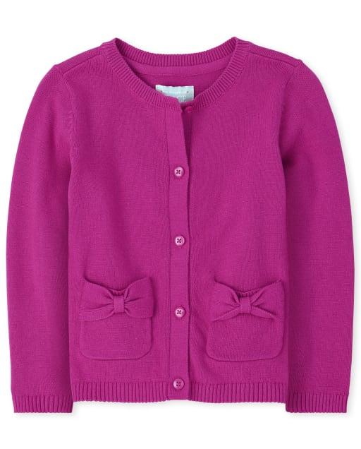 Toddler Girls Uniform Long Sleeve Bow Cardigan