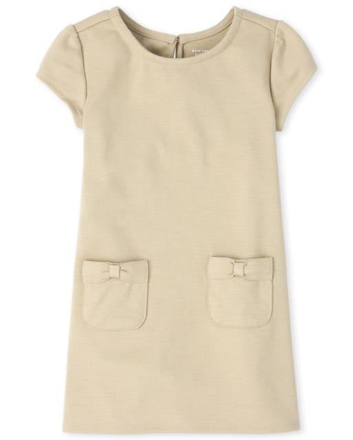 Vestido de punto ponte con lazo de manga corta y uniforme para niñas pequeñas