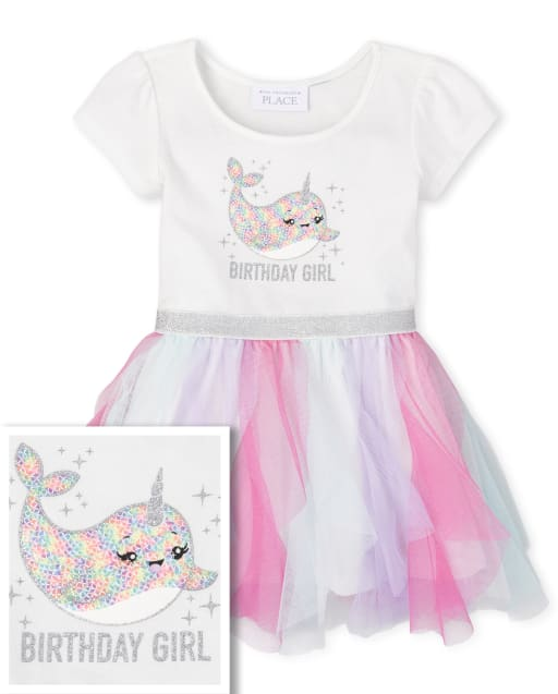 Baby And Toddler Girls Short Sleeve 'Birthday Girl' Narwhal Knit To Woven Tutu Dress