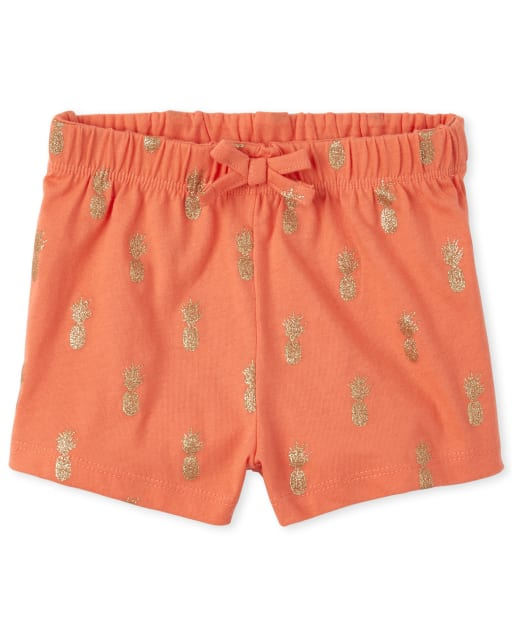 Baby And Toddler Girls Mix And Match Glitter Pineapple Print Knit Shorts