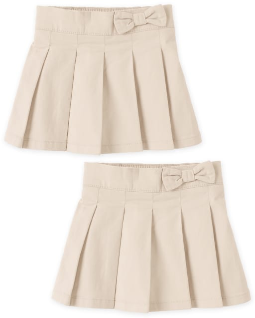 Toddler Girls Uniform Woven Pleated Skort 2-Pack
