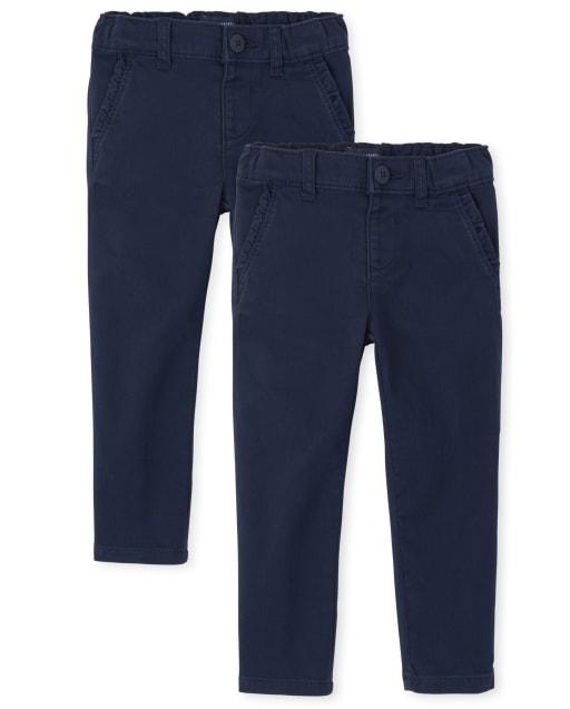Toddler Girls Uniform Woven Skinny Chino Pants 2-Pack