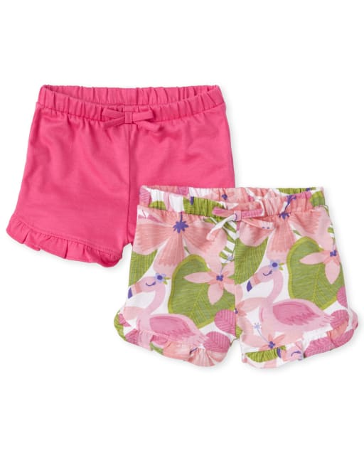Baby Girls Flamingo Print And Solid Knit Ruffle Shorts 2-Pack
