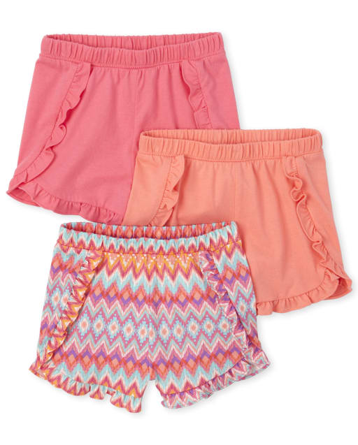 Toddler Girls Print Knit Ruffle Shorts 3-Pack