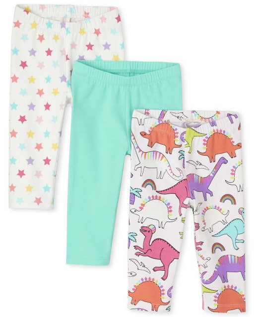 Toddler Girls Print Knit Capri Leggings 3-Pack