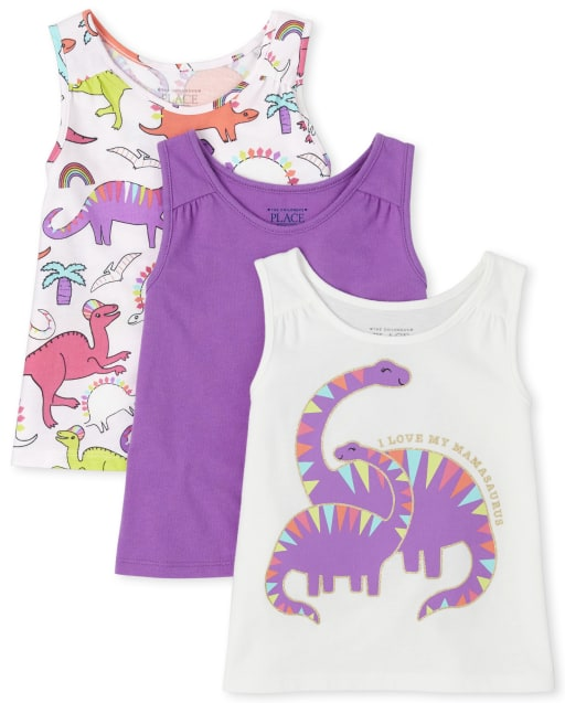 Baby And Toddler Girls Mix And Match Sleeveless Graphic And Print Tank Top 3-Pack