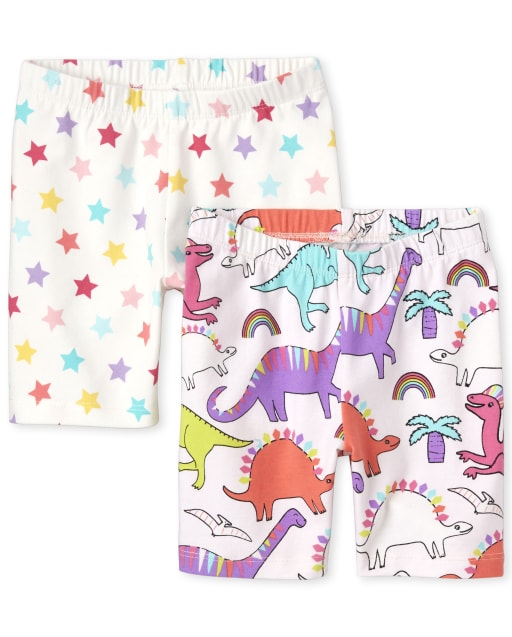 Toddler Girls Mix And Match Print Knit Bike Shorts 2-Pack