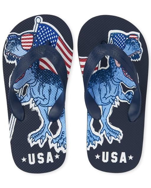 Boys Americana 'USA' Dino Flag Flip Flops