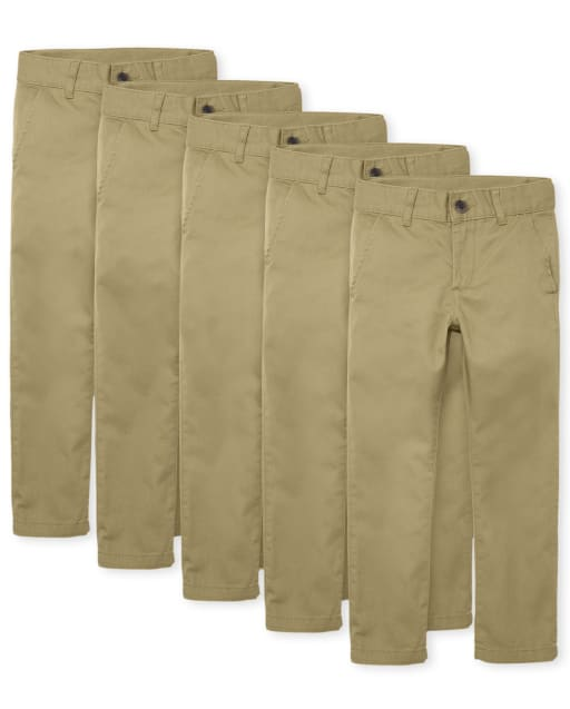 Boys Uniform Woven Skinny Chino Pants 5-Pack