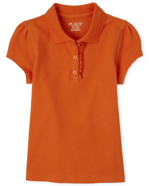 Girls Uniform Short Sleeve Ruffle Pique Polo