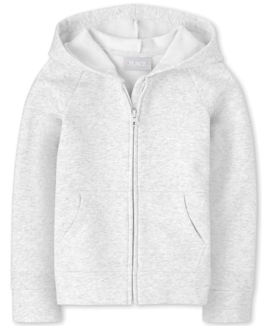 Girls Uniform Long Sleeve French Terry Zip Up Hoodie