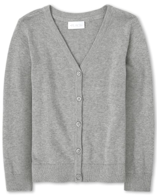Girls Uniform Long Sleeve V Neck Cardigan