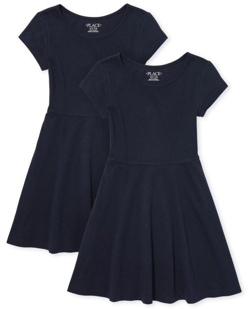 Vestido skater de punto de manga corta con uniforme para niñas, paquete de 2