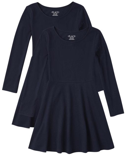 Vestido skater de punto de manga larga con uniforme para niñas, paquete de 2