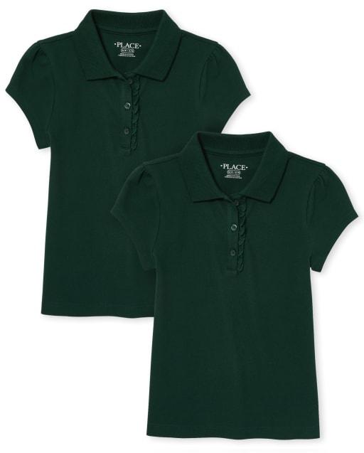 Conjunto de 2 polos de piqué con volantes y manga corta de uniforme para niñas