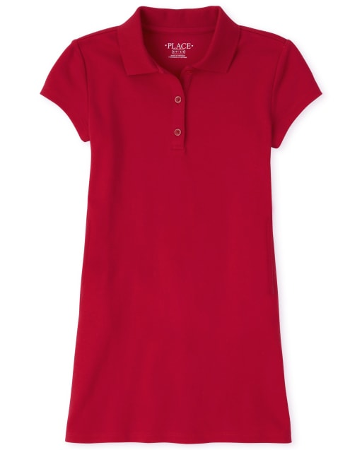 Girls Uniform Short Sleeve Knit Polo Shift Dress
