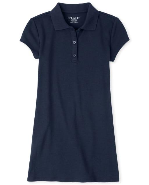 Girls Uniform Short Sleeve Knit Polo Shift Dress