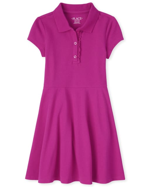 Girls Uniform Short Sleeve Knit Ruffle Pique Polo Dress