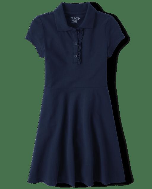 Girls Uniform Short Sleeve Knit Ruffle Pique Polo Dress
