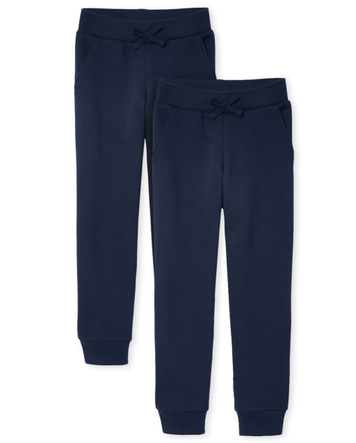 Girls Uniform Active Fleece Jogger Pants 2-Pack