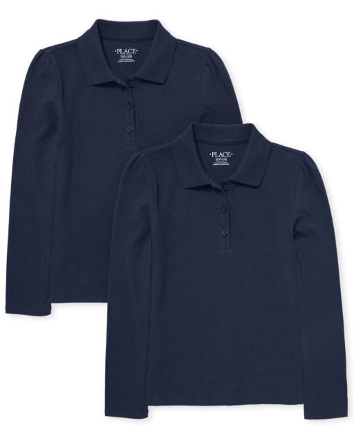 Girls Uniform Long Sleeve Pique Polo 2-Pack