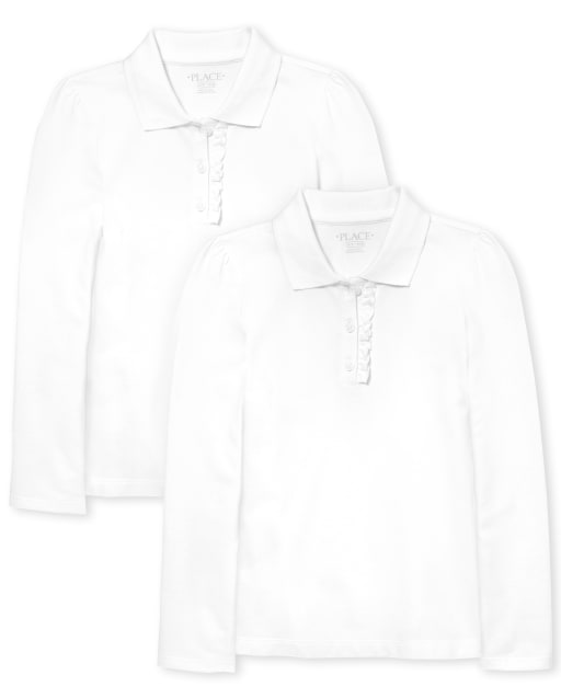 Girls Uniform Long Sleeve Ruffle Pique Polo 2-Pack