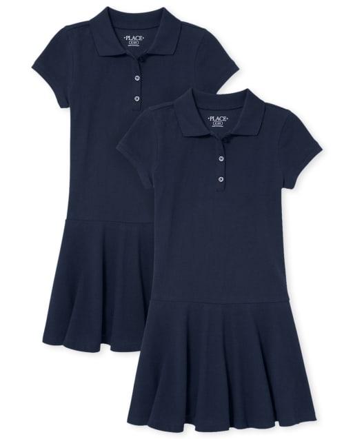 Vestido polo de piqué uniforme para niñas, paquete de 2