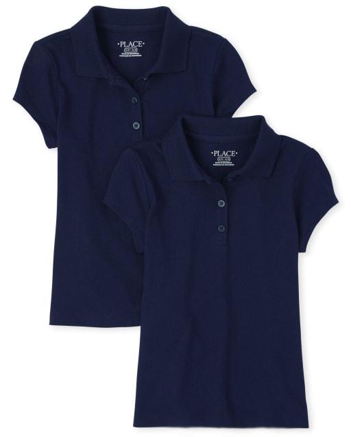 Polo de uniforme suave para niñas, paquete de 2
