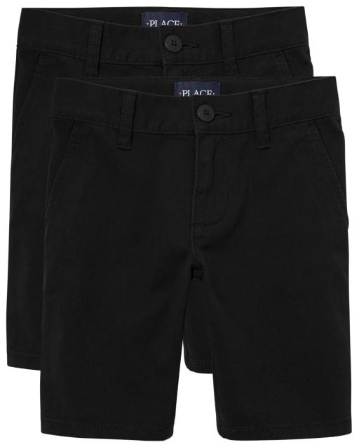 Paquete de 2 pantalones cortos chinos tejidos de uniforme para niñas