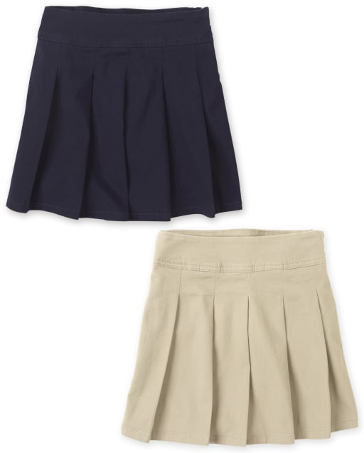 Girls Uniform Woven Pleated Skort 2-Pack
